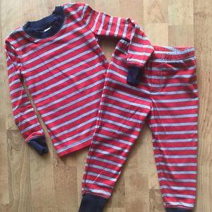 Mini Boden striped pjs size 3 EUC red blue worn 1x